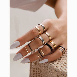 3/$30 Midi & Knuckle Black Gold Silver 14 Ring Set
